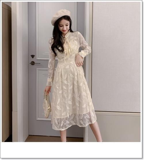 韓国 ファッション ワンピース パーティードレス ロング マキシ 春 夏 パーティー ブライダル PTXH485 結婚式 お呼ばれ 総レース 羽モチーフ スタンドカラー フリ 二次会 セレブ きれいめの写真6枚目