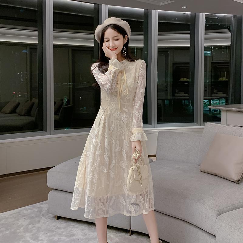 韓国 ファッション ワンピース パーティードレス ロング マキシ 春 夏 パーティー ブライダル PTXH485 結婚式 お呼ばれ 総レース 羽モチーフ スタンドカラー フリ 二次会 セレブ きれいめの写真7枚目