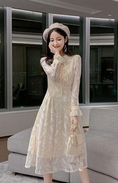 韓国 ファッション ワンピース パーティードレス ロング マキシ 春 夏 パーティー ブライダル PTXH485 結婚式 お呼ばれ 総レース 羽モチーフ スタンドカラー フリ 二次会 セレブ きれいめの写真8枚目
