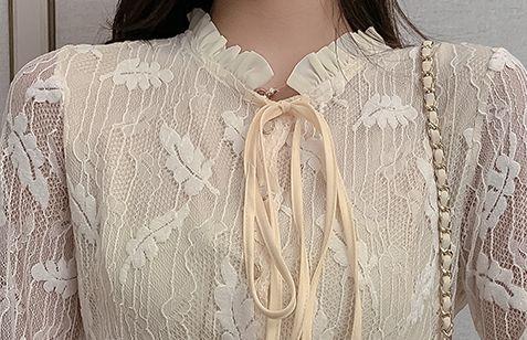 韓国 ファッション ワンピース パーティードレス ロング マキシ 春 夏 パーティー ブライダル PTXH485 結婚式 お呼ばれ 総レース 羽モチーフ スタンドカラー フリ 二次会 セレブ きれいめの写真10枚目