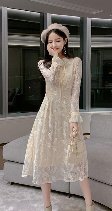 韓国 ファッション ワンピース パーティードレス ロング マキシ 春 夏 パーティー ブライダル PTXH485 結婚式 お呼ばれ 総レース 羽モチーフ スタンドカラー フリ 二次会 セレブ きれいめの写真16枚目