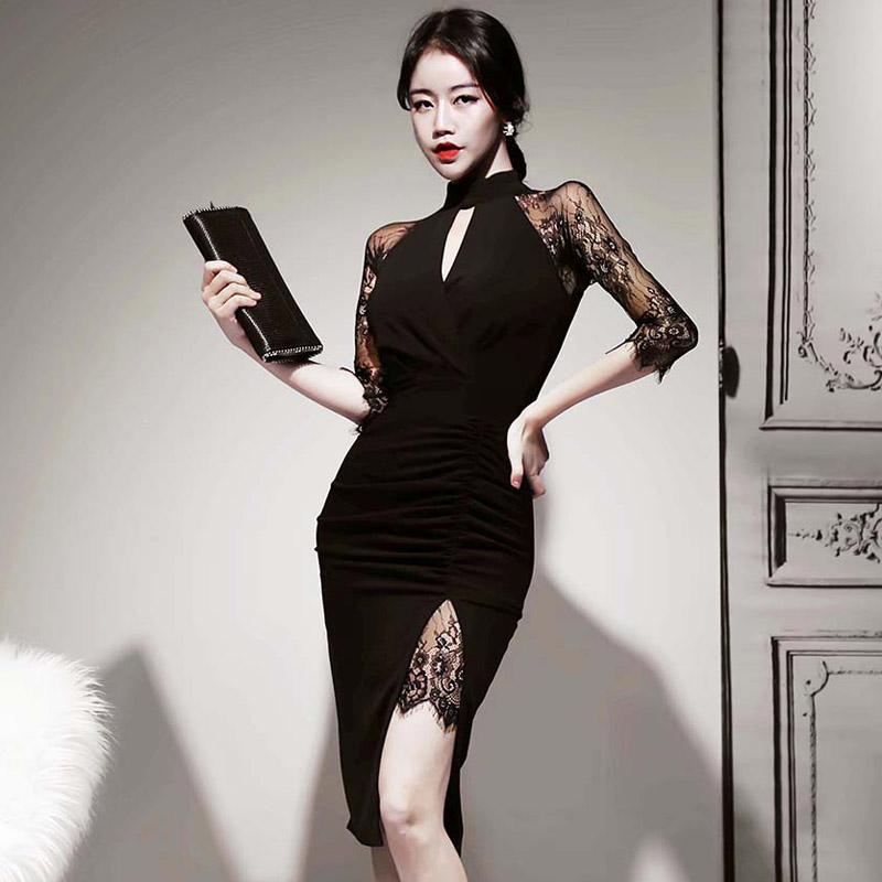 韓国 ファッション ワンピース パーティードレス ひざ丈 ミディアム 秋 冬 春 パーティー ブライダル PTXH490 結婚式 お呼ばれ アメリカンスリーブ アシンメトリー 二次会 セレブ きれいめの写真2枚目