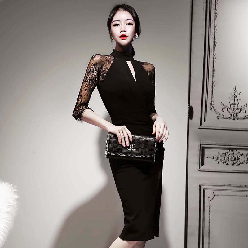 韓国 ファッション ワンピース パーティードレス ひざ丈 ミディアム 秋 冬 春 パーティー ブライダル PTXH490 結婚式 お呼ばれ アメリカンスリーブ アシンメトリー 二次会 セレブ きれいめの写真3枚目