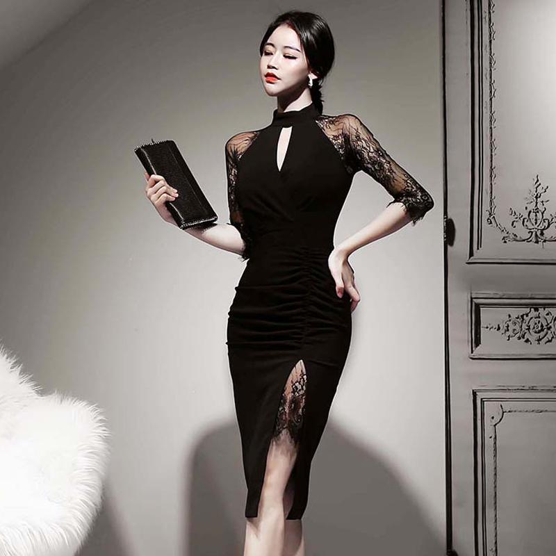 韓国 ファッション ワンピース パーティードレス ひざ丈 ミディアム 秋 冬 春 パーティー ブライダル PTXH490 結婚式 お呼ばれ アメリカンスリーブ アシンメトリー 二次会 セレブ きれいめの写真4枚目