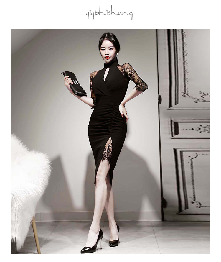 韓国 ファッション ワンピース パーティードレス ひざ丈 ミディアム 秋 冬 春 パーティー ブライダル PTXH490 結婚式 お呼ばれ アメリカンスリーブ アシンメトリー 二次会 セレブ きれいめの写真7枚目