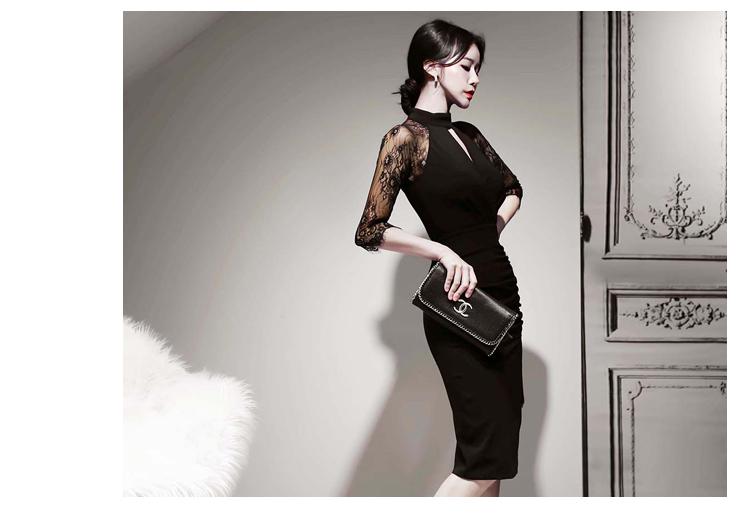 韓国 ファッション ワンピース パーティードレス ひざ丈 ミディアム 秋 冬 春 パーティー ブライダル PTXH490 結婚式 お呼ばれ アメリカンスリーブ アシンメトリー 二次会 セレブ きれいめの写真10枚目
