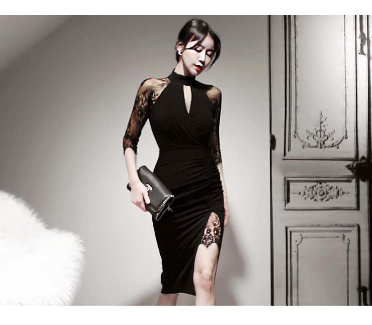 韓国 ファッション ワンピース パーティードレス ひざ丈 ミディアム 秋 冬 春 パーティー ブライダル PTXH490 結婚式 お呼ばれ アメリカンスリーブ アシンメトリー 二次会 セレブ きれいめの写真13枚目