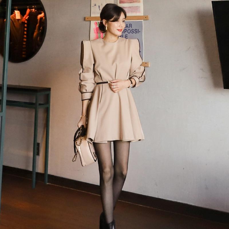 韓国 ファッション ワンピース パーティードレス ショート ミニ丈 春 秋 冬 パーティー ブライダル PTXH511 結婚式 お呼ばれ バイカラー タック 袖コンシャス マ 二次会 セレブ きれいめの写真3枚目