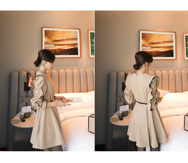 韓国 ファッション ワンピース パーティードレス ショート ミニ丈 春 秋 冬 パーティー ブライダル PTXH511 結婚式 お呼ばれ バイカラー タック 袖コンシャス マ 二次会 セレブ きれいめの写真8枚目