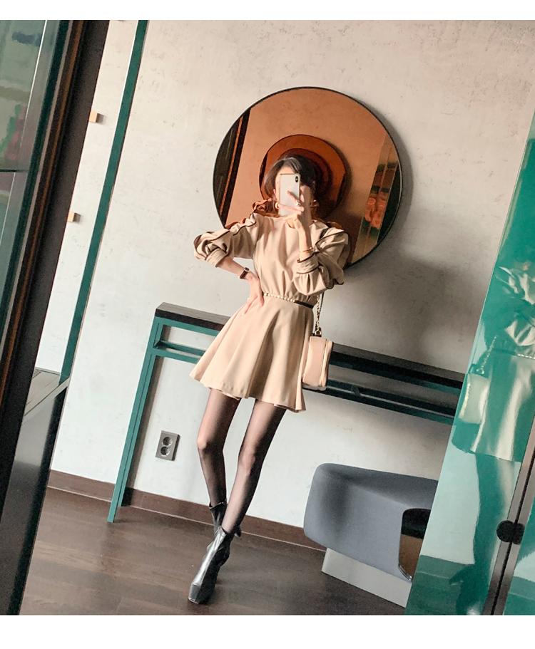 韓国 ファッション ワンピース パーティードレス ショート ミニ丈 春 秋 冬 パーティー ブライダル PTXH511 結婚式 お呼ばれ バイカラー タック 袖コンシャス マ 二次会 セレブ きれいめの写真11枚目