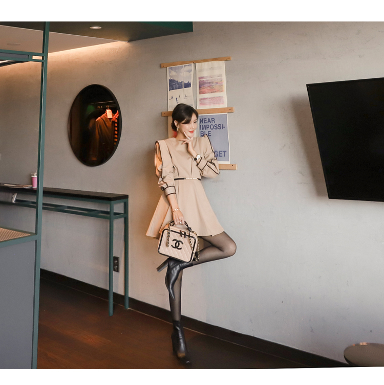 韓国 ファッション ワンピース パーティードレス ショート ミニ丈 春 秋 冬 パーティー ブライダル PTXH511 結婚式 お呼ばれ バイカラー タック 袖コンシャス マ 二次会 セレブ きれいめの写真14枚目