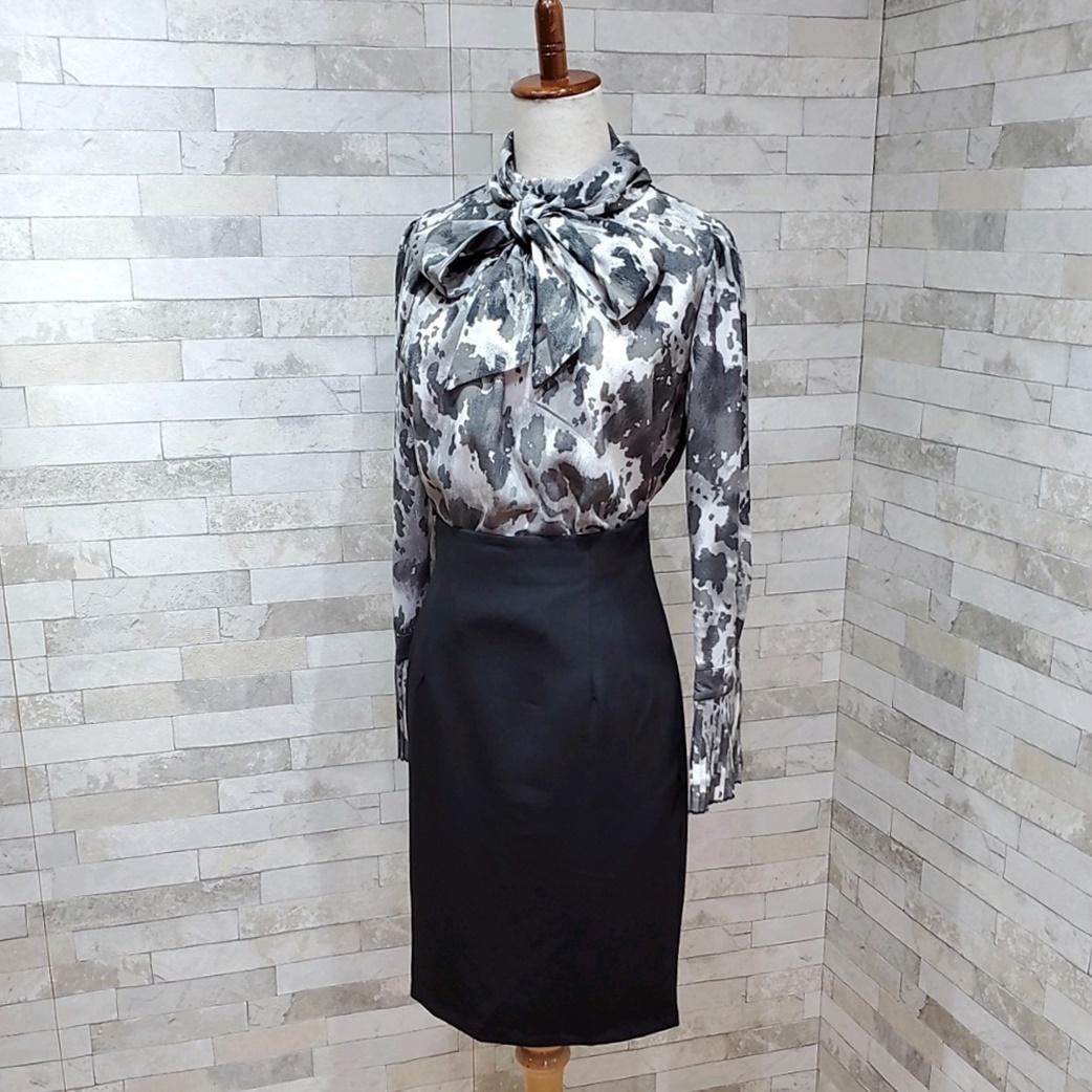 韓国 ファッション パーティードレス 結婚式 お呼ばれドレス セットアップ 秋 冬 春 パーティー ブライダル PTXH515  モノトーン リボン ドレープ タイト オフィ 二次会 セレブ きれいめの写真3枚目