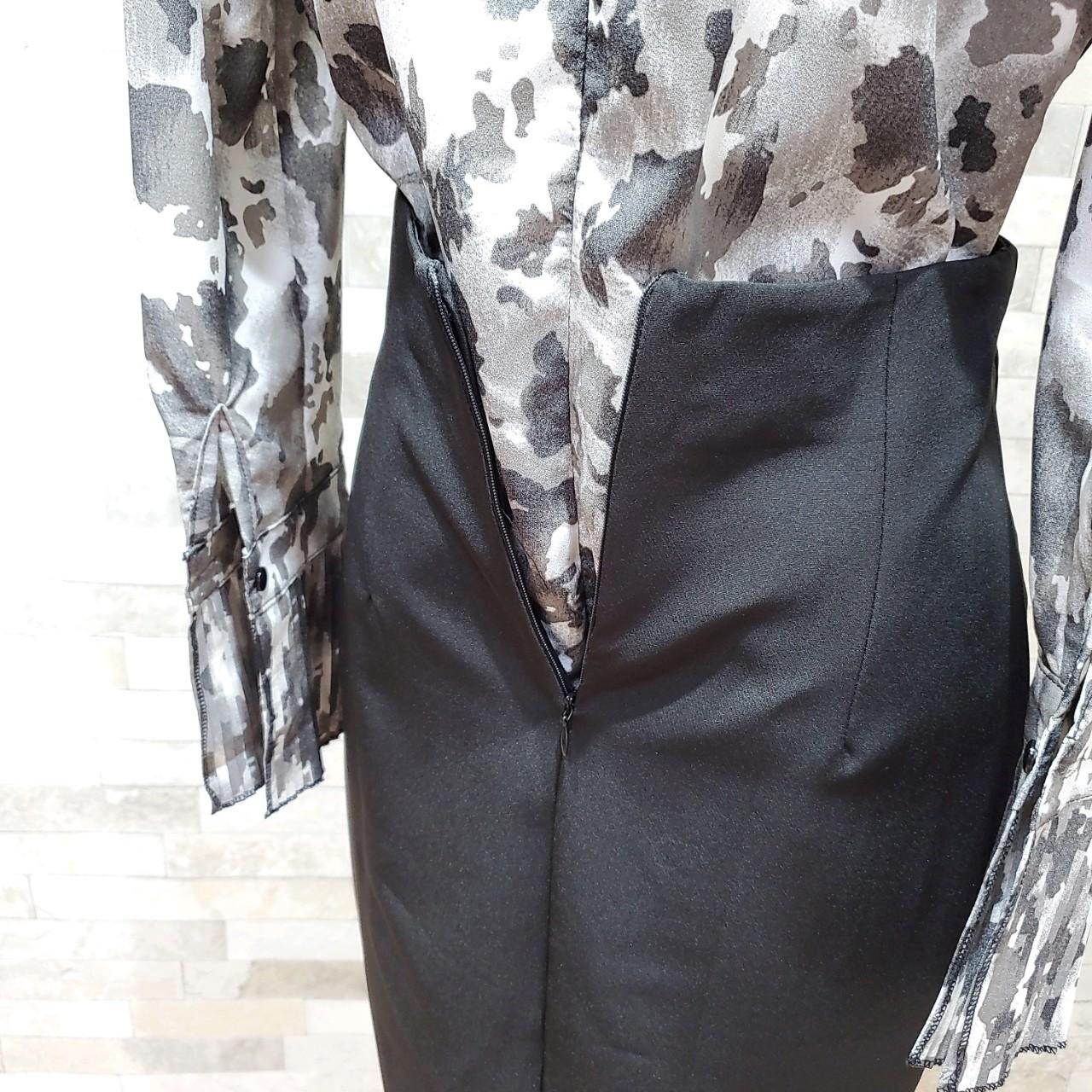 韓国 ファッション パーティードレス 結婚式 お呼ばれドレス セットアップ 秋 冬 春 パーティー ブライダル PTXH515  モノトーン リボン ドレープ タイト オフィ 二次会 セレブ きれいめの写真19枚目