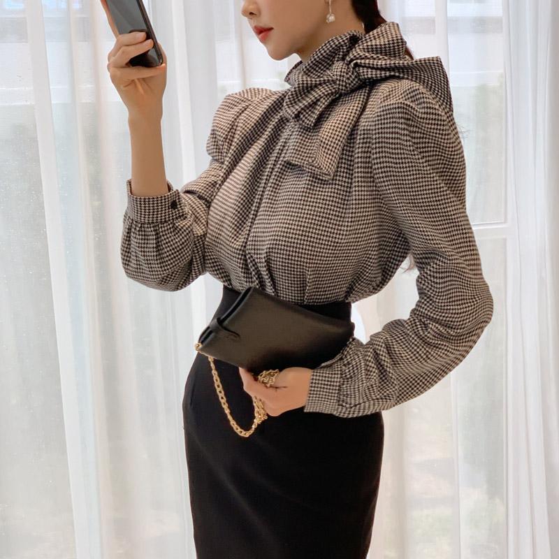 韓国 ファッション パーティードレス 結婚式 お呼ばれドレス セットアップ 春 秋 冬 パーティー ブライダル PTXH518  千鳥格子 ドレープ パフスリーブ タイト 二次会 セレブ きれいめの写真5枚目