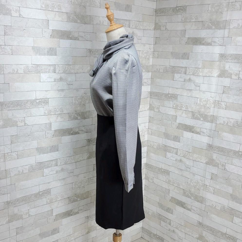 韓国 ファッション パーティードレス 結婚式 お呼ばれドレス セットアップ 春 秋 冬 パーティー ブライダル PTXH518  千鳥格子 ドレープ パフスリーブ タイト 二次会 セレブ きれいめの写真10枚目
