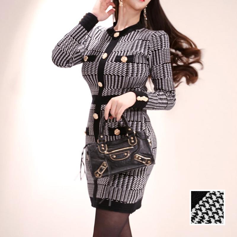 韓国 ファッション ワンピース パーティードレス ショート ミニ丈 秋 冬 パーティー ブライダル PTXH519 結婚式 お呼ばれ ブロック柄 ライン 金ボタン マイクロミ 二次会 セレブ きれいめの写真1枚目