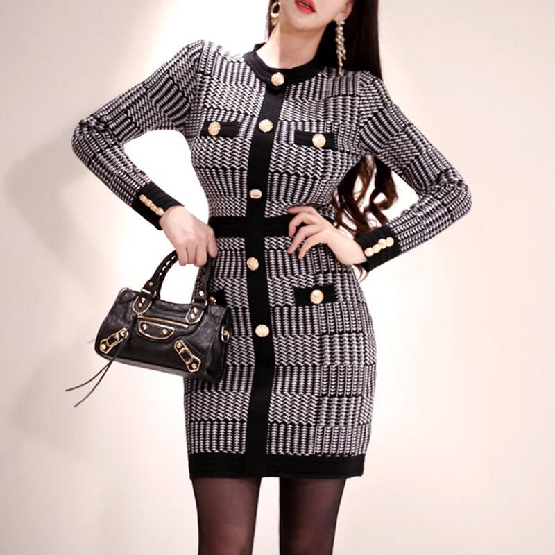 韓国 ファッション ワンピース パーティードレス ショート ミニ丈 秋 冬 パーティー ブライダル PTXH519 結婚式 お呼ばれ ブロック柄 ライン 金ボタン マイクロミ 二次会 セレブ きれいめの写真2枚目