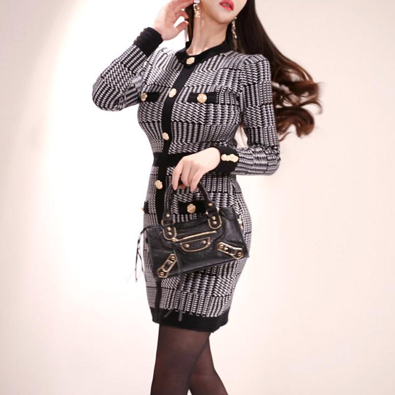 韓国 ファッション ワンピース パーティードレス ショート ミニ丈 秋 冬 パーティー ブライダル PTXH519 結婚式 お呼ばれ ブロック柄 ライン 金ボタン マイクロミ 二次会 セレブ きれいめの写真5枚目