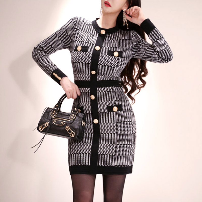 韓国 ファッション ワンピース パーティードレス ショート ミニ丈 秋 冬 パーティー ブライダル PTXH519 結婚式 お呼ばれ ブロック柄 ライン 金ボタン マイクロミ 二次会 セレブ きれいめの写真6枚目