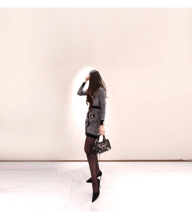 韓国 ファッション ワンピース パーティードレス ショート ミニ丈 秋 冬 パーティー ブライダル PTXH519 結婚式 お呼ばれ ブロック柄 ライン 金ボタン マイクロミ 二次会 セレブ きれいめの写真8枚目
