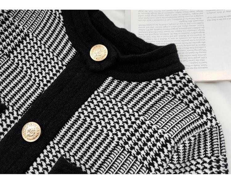 韓国 ファッション ワンピース パーティードレス ショート ミニ丈 秋 冬 パーティー ブライダル PTXH519 結婚式 お呼ばれ ブロック柄 ライン 金ボタン マイクロミ 二次会 セレブ きれいめの写真14枚目