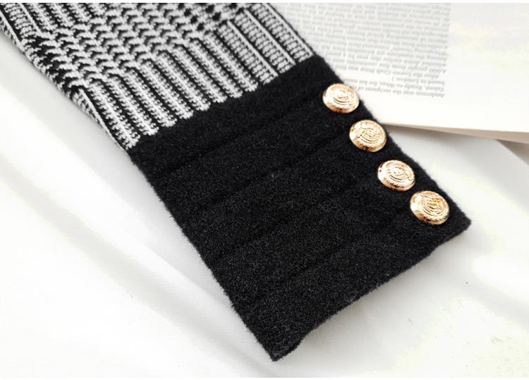 韓国 ファッション ワンピース パーティードレス ショート ミニ丈 秋 冬 パーティー ブライダル PTXH519 結婚式 お呼ばれ ブロック柄 ライン 金ボタン マイクロミ 二次会 セレブ きれいめの写真15枚目