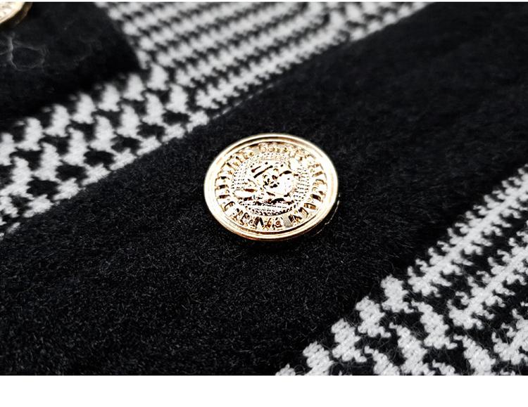韓国 ファッション ワンピース パーティードレス ショート ミニ丈 秋 冬 パーティー ブライダル PTXH519 結婚式 お呼ばれ ブロック柄 ライン 金ボタン マイクロミ 二次会 セレブ きれいめの写真16枚目