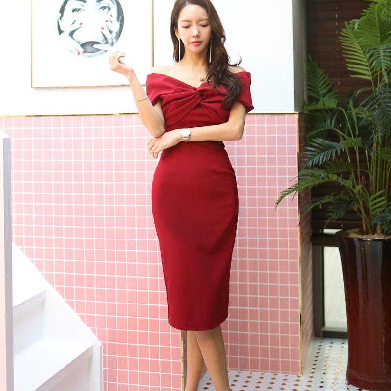 韓国 ファッション ワンピース パーティードレス ひざ丈 ミディアム 春 夏 パーティー ブライダル PTXH528 結婚式 お呼ばれ オフショル デコルテ見せ ツイスト ド 二次会 セレブ きれいめの写真3枚目