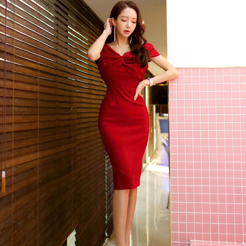 韓国 ファッション ワンピース パーティードレス ひざ丈 ミディアム 春 夏 パーティー ブライダル PTXH528 結婚式 お呼ばれ オフショル デコルテ見せ ツイスト ド 二次会 セレブ きれいめの写真4枚目