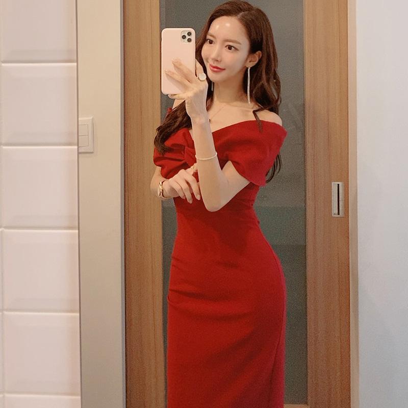 韓国 ファッション ワンピース パーティードレス ひざ丈 ミディアム 春 夏 パーティー ブライダル PTXH528 結婚式 お呼ばれ オフショル デコルテ見せ ツイスト ド 二次会 セレブ きれいめの写真5枚目