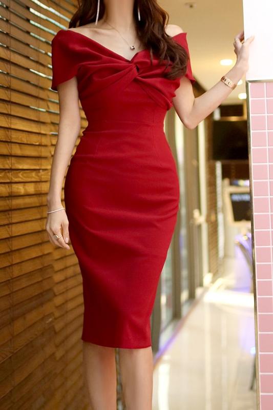 韓国 ファッション ワンピース パーティードレス ひざ丈 ミディアム 春 夏 パーティー ブライダル PTXH528 結婚式 お呼ばれ オフショル デコルテ見せ ツイスト ド 二次会 セレブ きれいめの写真6枚目