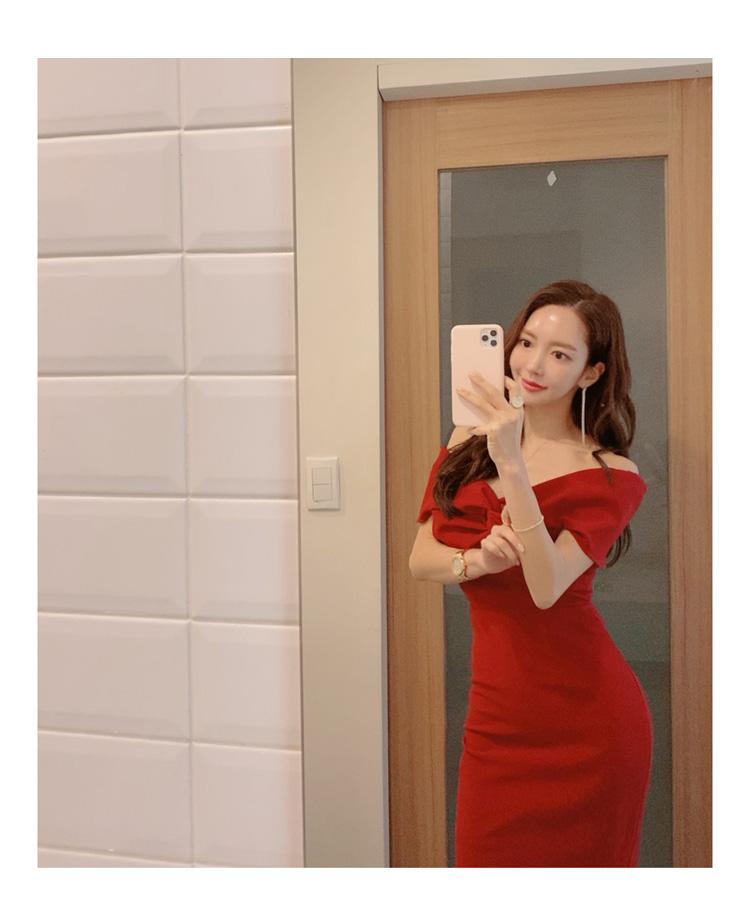 韓国 ファッション ワンピース パーティードレス ひざ丈 ミディアム 春 夏 パーティー ブライダル PTXH528 結婚式 お呼ばれ オフショル デコルテ見せ ツイスト ド 二次会 セレブ きれいめの写真16枚目