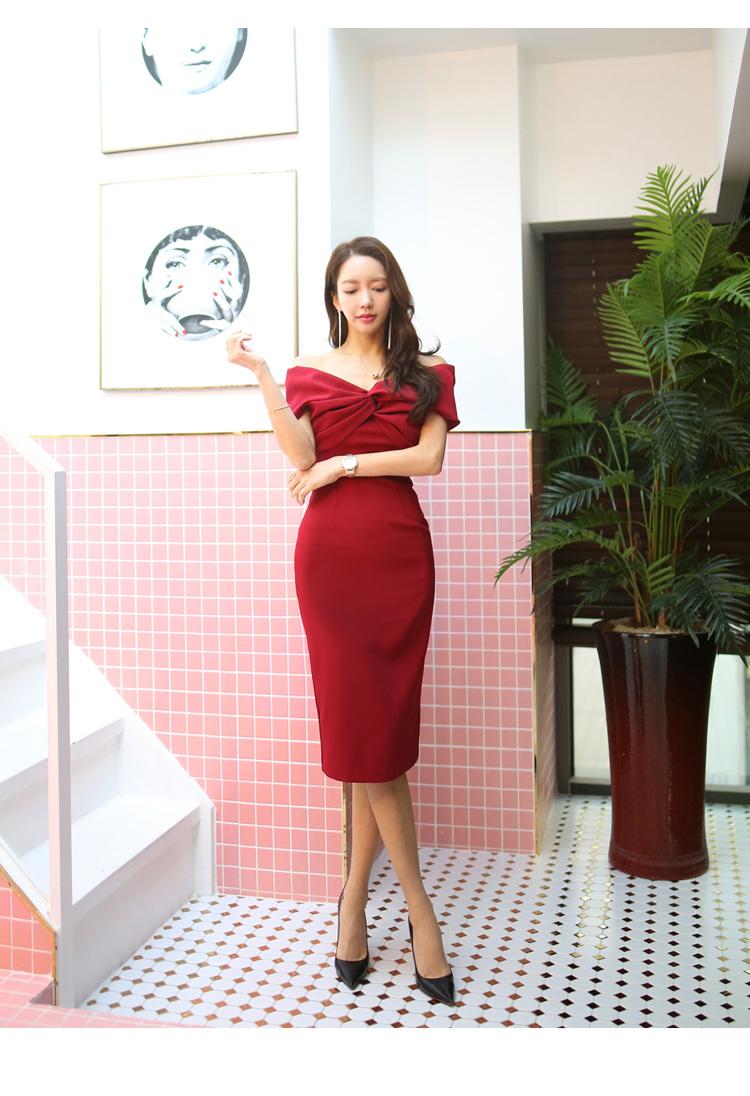 韓国 ファッション ワンピース パーティードレス ひざ丈 ミディアム 春 夏 パーティー ブライダル PTXH528 結婚式 お呼ばれ オフショル デコルテ見せ ツイスト ド 二次会 セレブ きれいめの写真17枚目