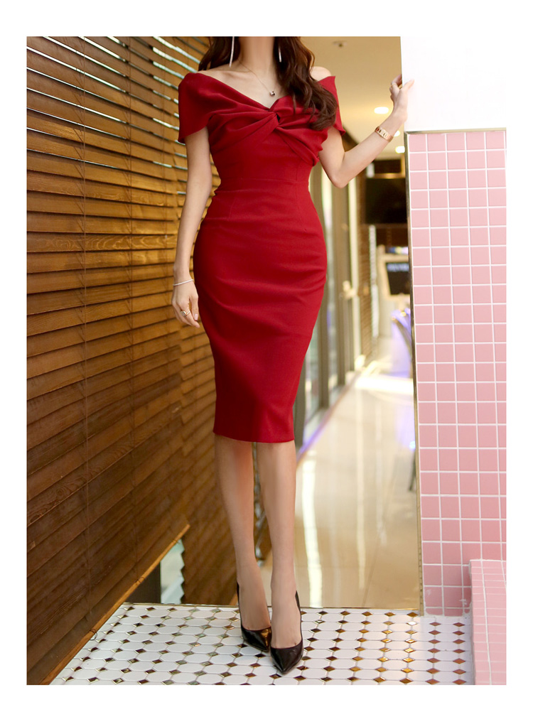 韓国 ファッション ワンピース パーティードレス ひざ丈 ミディアム 春 夏 パーティー ブライダル PTXH528 結婚式 お呼ばれ オフショル デコルテ見せ ツイスト ド 二次会 セレブ きれいめの写真18枚目