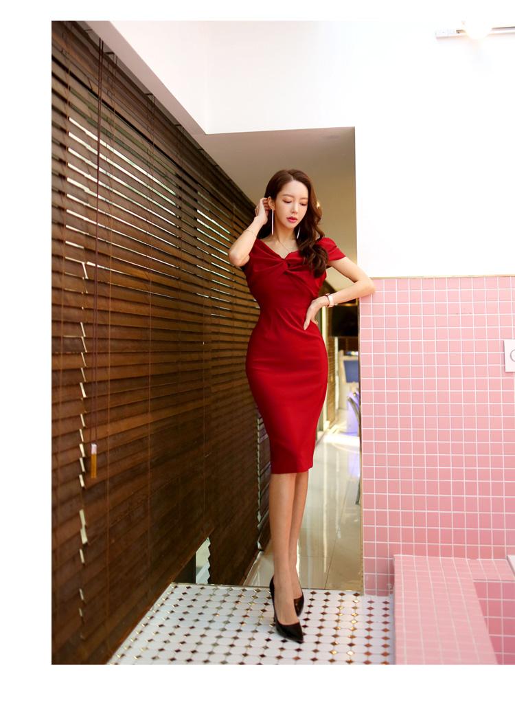 韓国 ファッション ワンピース パーティードレス ひざ丈 ミディアム 春 夏 パーティー ブライダル PTXH528 結婚式 お呼ばれ オフショル デコルテ見せ ツイスト ド 二次会 セレブ きれいめの写真20枚目