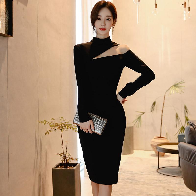 韓国 ファッション ワンピース パーティードレス ひざ丈 ミディアム 秋 冬 春 パーティー ブライダル PTXH549 結婚式 お呼ばれ アシンメトリー オープンショルダー 二次会 セレブ きれいめの写真3枚目