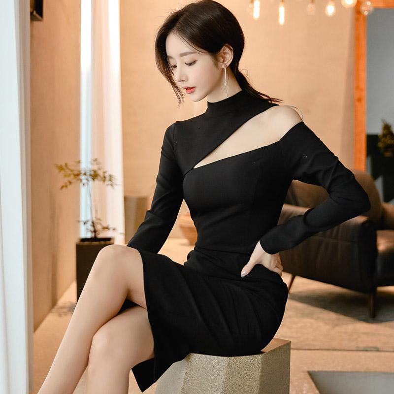 韓国 ファッション ワンピース パーティードレス ひざ丈 ミディアム 秋 冬 春 パーティー ブライダル PTXH549 結婚式 お呼ばれ アシンメトリー オープンショルダー 二次会 セレブ きれいめの写真4枚目