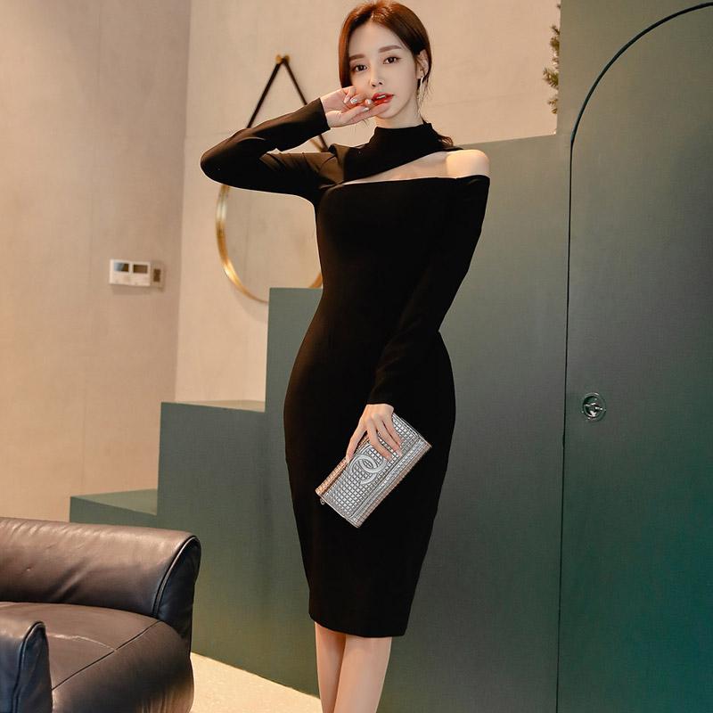 韓国 ファッション ワンピース パーティードレス ひざ丈 ミディアム 秋 冬 春 パーティー ブライダル PTXH549 結婚式 お呼ばれ アシンメトリー オープンショルダー 二次会 セレブ きれいめの写真6枚目