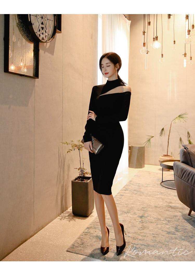 韓国 ファッション ワンピース パーティードレス ひざ丈 ミディアム 秋 冬 春 パーティー ブライダル PTXH549 結婚式 お呼ばれ アシンメトリー オープンショルダー 二次会 セレブ きれいめの写真7枚目