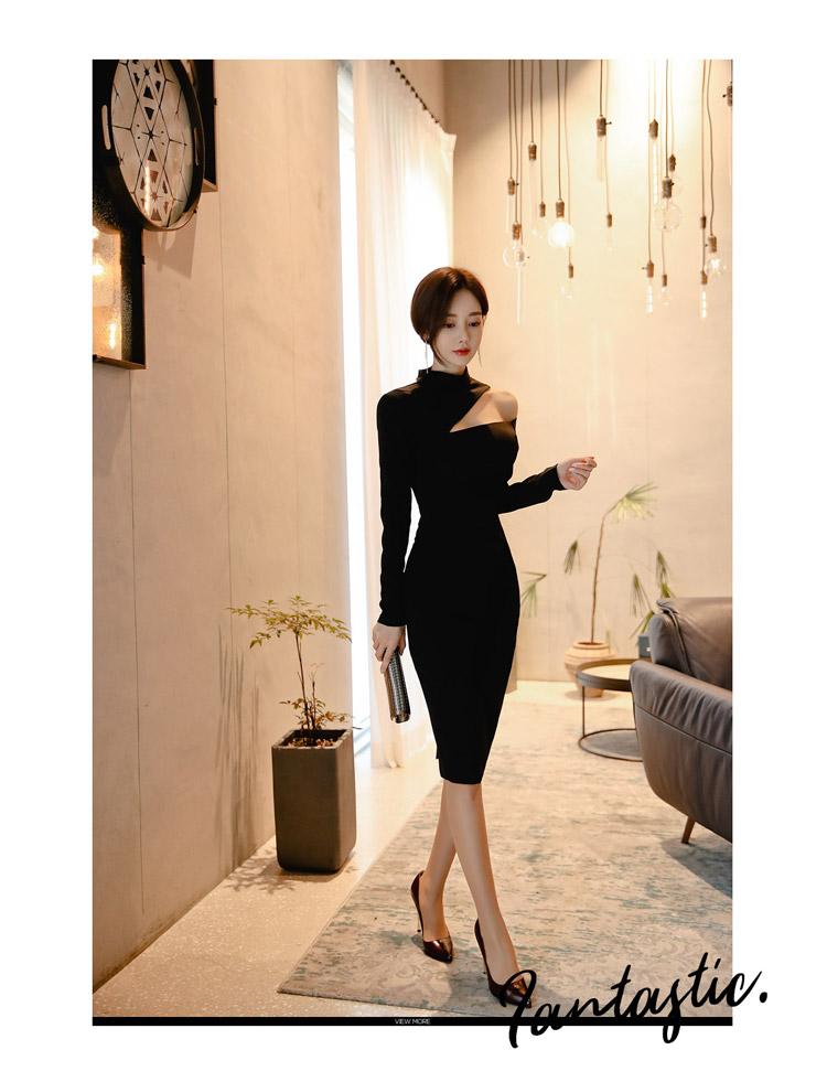 韓国 ファッション ワンピース パーティードレス ひざ丈 ミディアム 秋 冬 春 パーティー ブライダル PTXH549 結婚式 お呼ばれ アシンメトリー オープンショルダー 二次会 セレブ きれいめの写真9枚目
