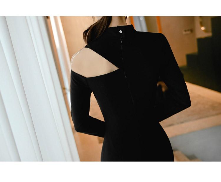 韓国 ファッション ワンピース パーティードレス ひざ丈 ミディアム 秋 冬 春 パーティー ブライダル PTXH549 結婚式 お呼ばれ アシンメトリー オープンショルダー 二次会 セレブ きれいめの写真10枚目