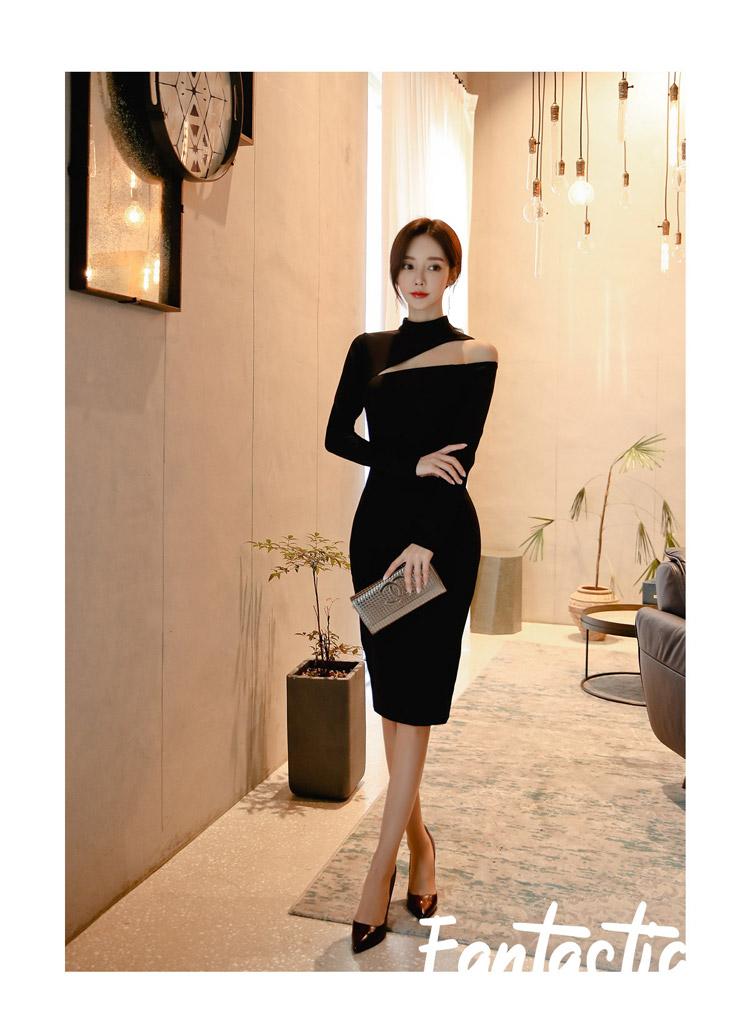 韓国 ファッション ワンピース パーティードレス ひざ丈 ミディアム 秋 冬 春 パーティー ブライダル PTXH549 結婚式 お呼ばれ アシンメトリー オープンショルダー 二次会 セレブ きれいめの写真11枚目