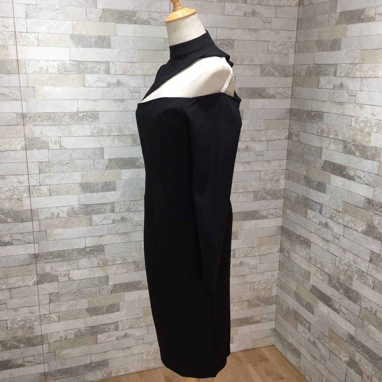 韓国 ファッション ワンピース パーティードレス ひざ丈 ミディアム 秋 冬 春 パーティー ブライダル PTXH549 結婚式 お呼ばれ アシンメトリー オープンショルダー 二次会 セレブ きれいめの写真15枚目