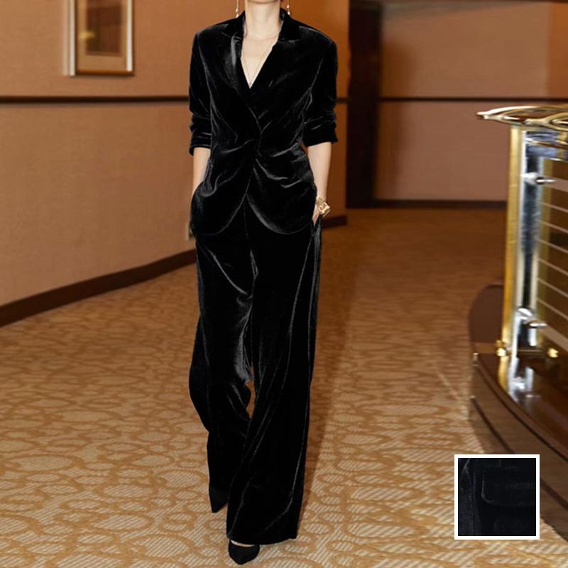 【即納】韓国 ファッション パンツ セットアップ パーティードレス 結婚式 お呼ばれドレス 秋 冬 パーティー ブライダル SPTXH554  起毛 ドレープ テーラードジャ 二次会 セレブ きれいめの写真1枚目