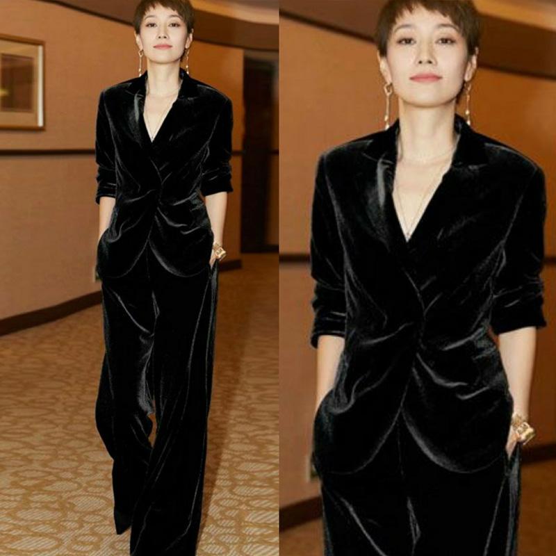【即納】韓国 ファッション パンツ セットアップ パーティードレス 結婚式 お呼ばれドレス 秋 冬 パーティー ブライダル SPTXH554  起毛 ドレープ テーラードジャ 二次会 セレブ きれいめの写真2枚目