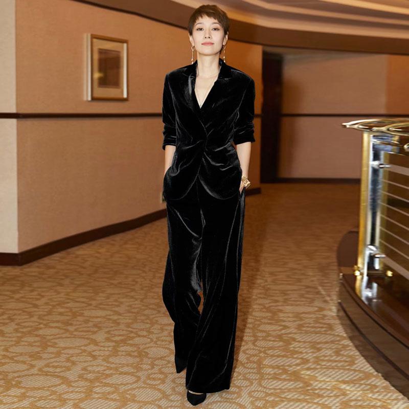 【即納】韓国 ファッション パンツ セットアップ パーティードレス 結婚式 お呼ばれドレス 秋 冬 パーティー ブライダル SPTXH554  起毛 ドレープ テーラードジャ 二次会 セレブ きれいめの写真3枚目