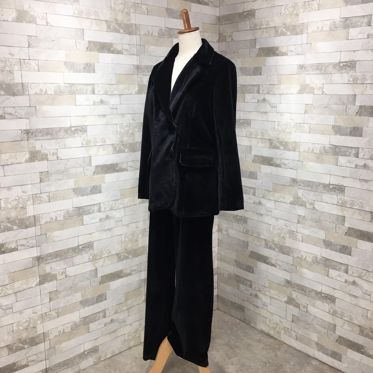 【即納】韓国 ファッション パンツ セットアップ パーティードレス 結婚式 お呼ばれドレス 秋 冬 パーティー ブライダル SPTXH554  起毛 ドレープ テーラードジャ 二次会 セレブ きれいめの写真6枚目