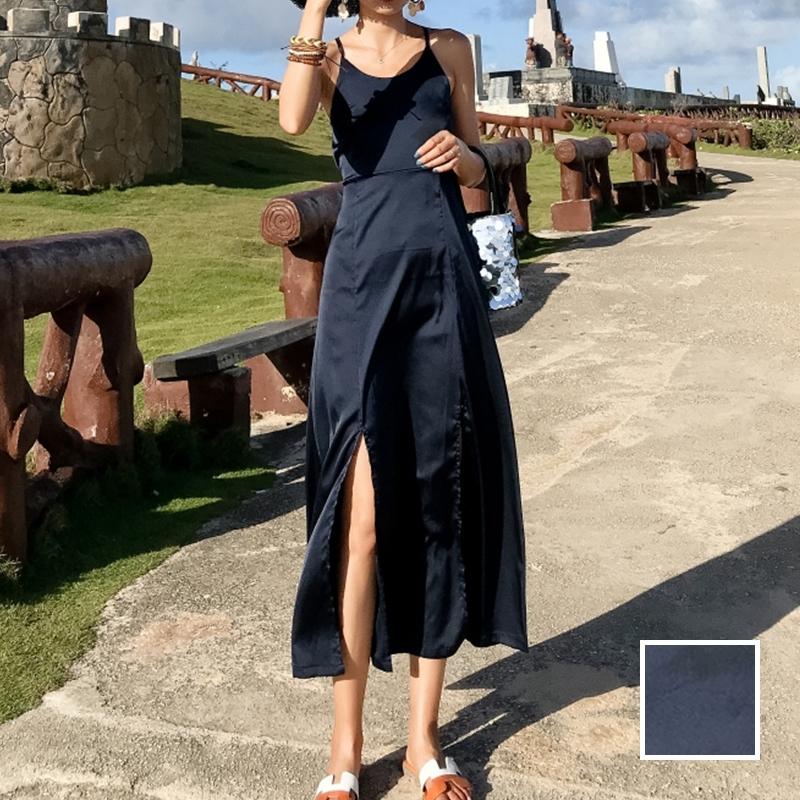 リゾートワンピース ロング マキシ ハワイ お出かけワンピ 春 夏 リゾート パーティー PTXH712  光沢 バッククロス シンプル Aライン リゾート セレブ セクシーの写真1枚目