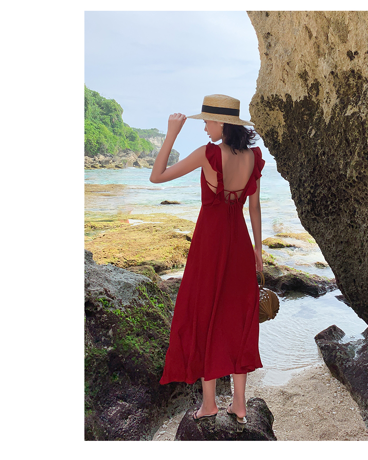 リゾートワンピース ロング マキシ ハワイ お出かけワンピ 春 夏 リゾート パーティー PTXH724  フリル 背中見せ フレア シンプル リゾート セレブ セクシーの写真12枚目