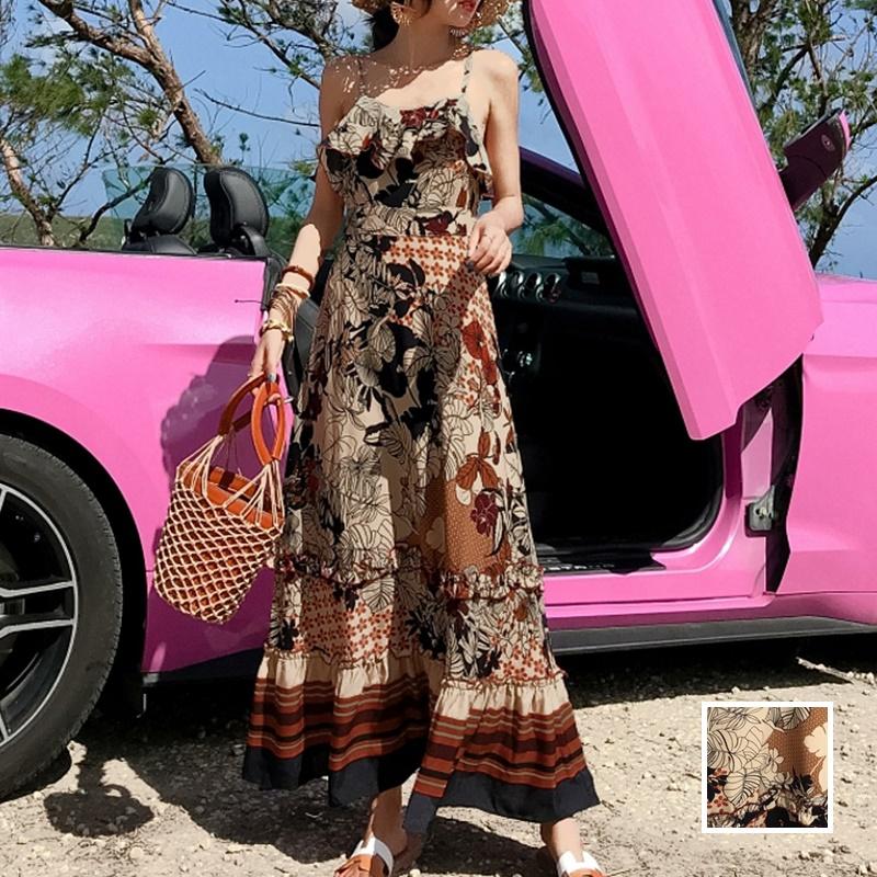 リゾートワンピース ロング マキシ ハワイ お出かけワンピ 夏 春 リゾート パーティー PTXH731  ヴィンテージ風カラー フリル マキシ リゾート セレブ セクシーの写真1枚目